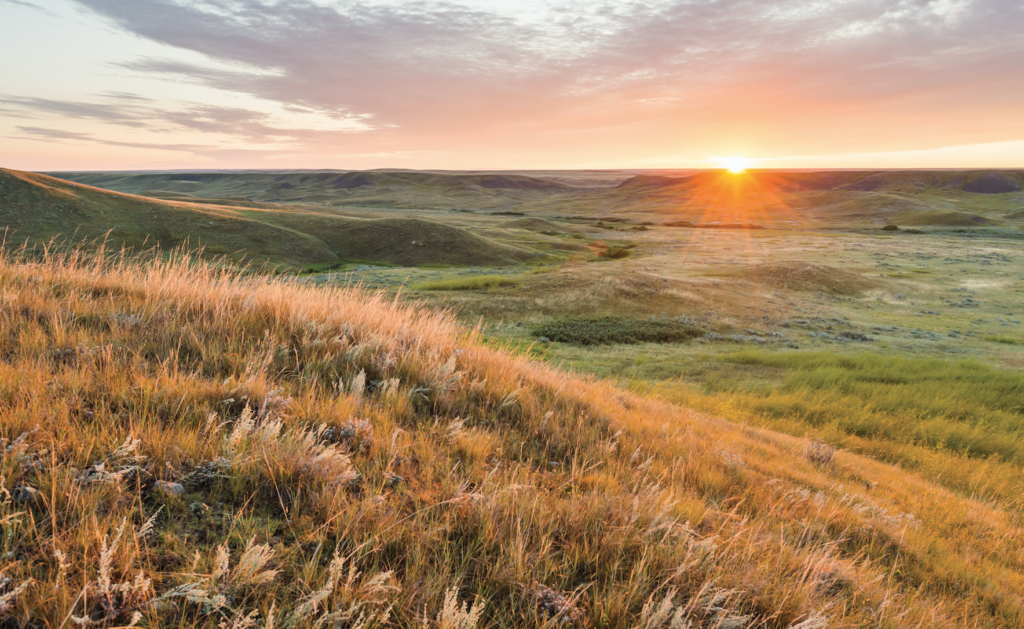 The sun setting over the badlands in southern Saskatchewan